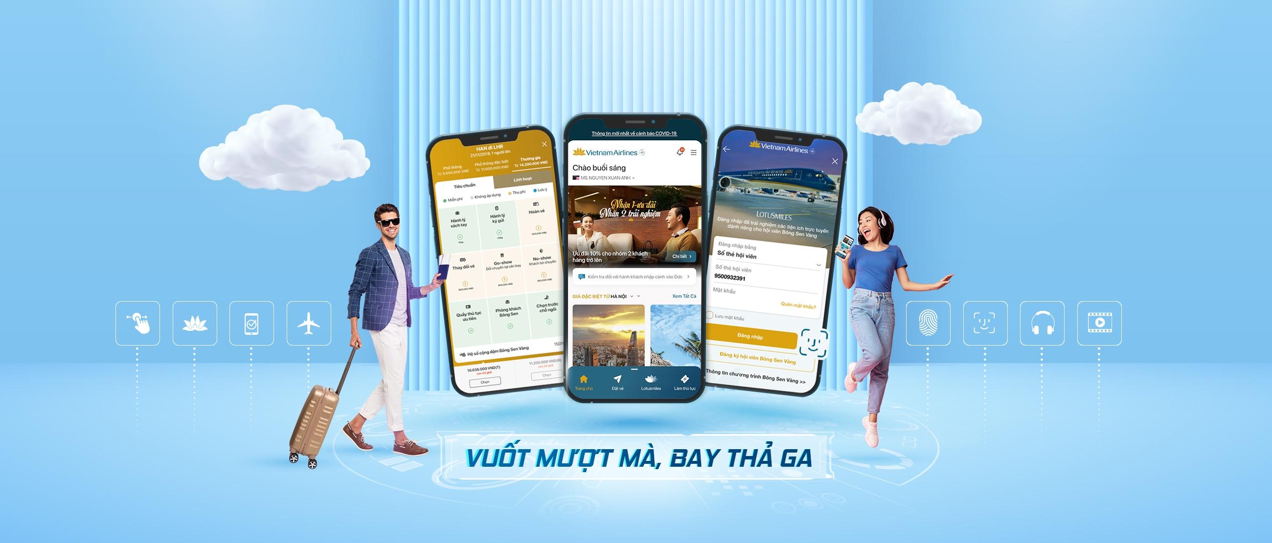 vietnam airlines day manh chuyen doi so tren ung dung di dong