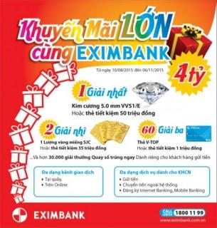 Khuyến mãi lớn với tổng giải thưởng hơn 4 tỷ đồng từ Eximbank