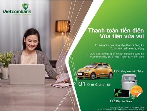 Cơ hội trúng ô tô khi thanh toán tiền điện qua NH điện tử của Vietcombank