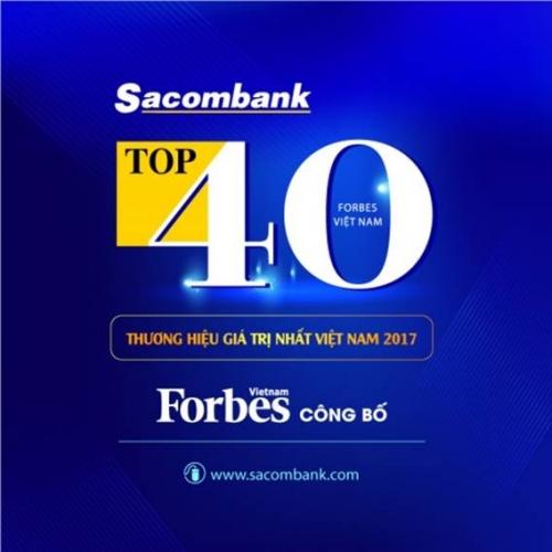 Sacombank thuộc Top 40 thương hiệu giá trị nhất