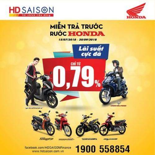 Vay mua xe máy tại HD SAISON lãi suất chỉ 0,79%/tháng