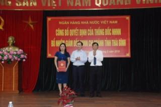 NHNN bổ nhiệm Giám đốc NHNN Chi nhánh tỉnh Thái Bình