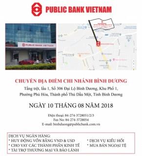 Public Bank Việt Nam chuyển địa điểm chi nhánh Bình Dương