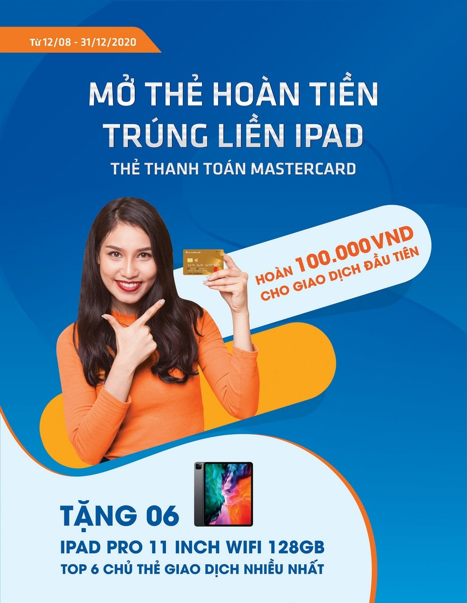 mo the hoan tien trung lien ipad voi the sacombank mastercard