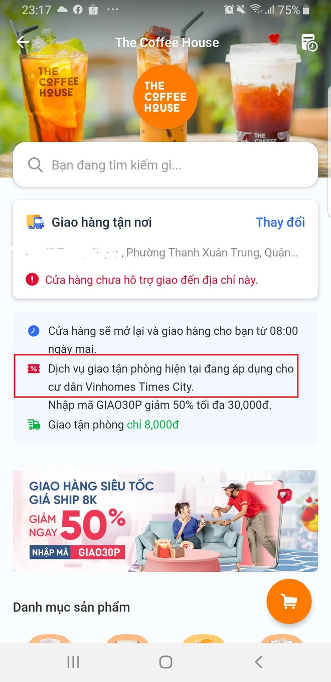 nong mang food vinid giao do uong tan phong cho cu dan vinhomes tiki giao ly ca phe the coffee house chua day 20 phut