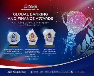 NCB nhận 3 giải thưởng quốc tế tại Global Banking & Finance Awards