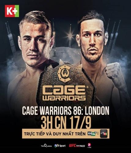 K+ phát sóng độc quyền giải đấu võ tổng hợp MMA CAGE WARRIORS