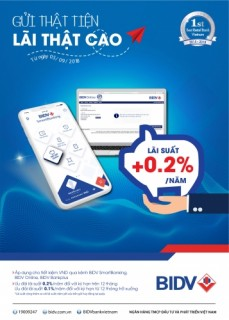 Ưu đãi cộng tới 0,2% lãi suất khi gửi tiết kiệm online tại BIDV