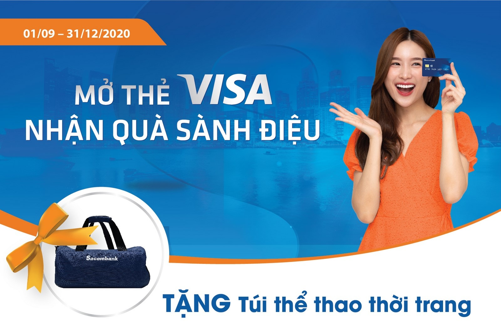 mo the tin dung sacombank visa nhan ngay tui the thao thoi trang