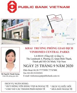 Ngân hàng TNHH MTV Public Việt Nam khai trương Phòng giao dịch Vinhomes Central Parks