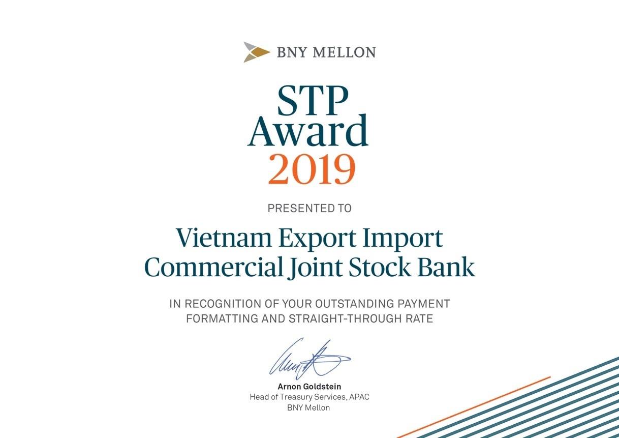 eximbank duoc bank of new york mellon trao giai thuong stp award