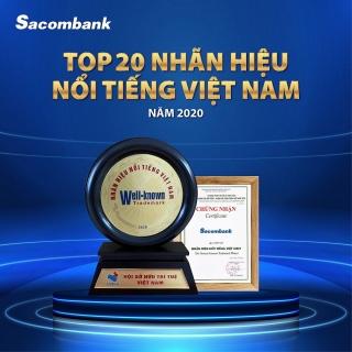"""Sacombank vào """"Top 20 nhãn hiệu nổi tiếng Việt Nam"""""""