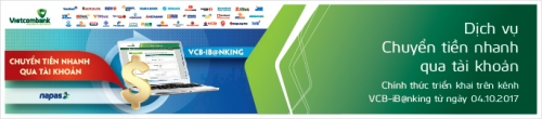 Vietcombank triển khai dịch vụ chuyển tiền nhanh qua tài khoản trên VCB – iB@nking