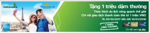 Cơ hội trở thành triệu phú dặm thưởng dành cho chủ thẻ Vietcombank