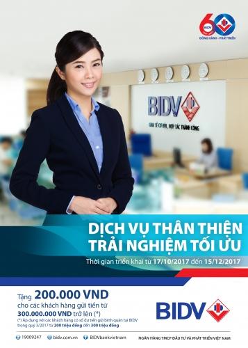 Nhận quà tặng trị giá 200.000 đồng khi gửi tiết kiệm tại BIDV