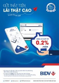 Ưu đãi tới 0,2% lãi suất khi gửi tiết kiệm online tại BIDV