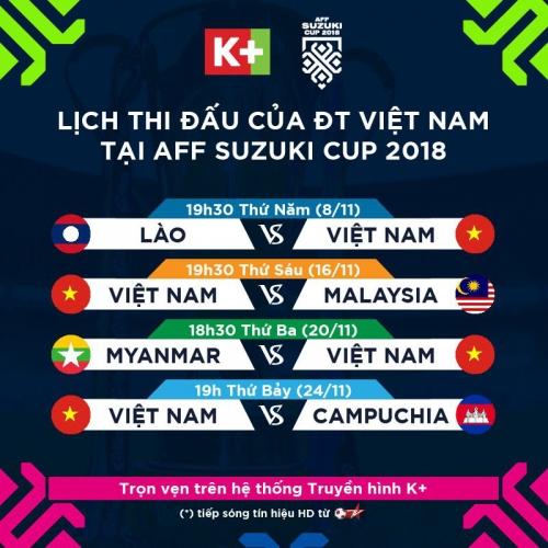Truyền hình K+ phát sóng toàn bộ các trận đấu AFF Suzuki Cup 2018