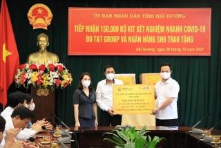 Tập đoàn T&T và SHB: Hỗ trợ 150.000 kit xét nghiệm cho tỉnh Hải Dương