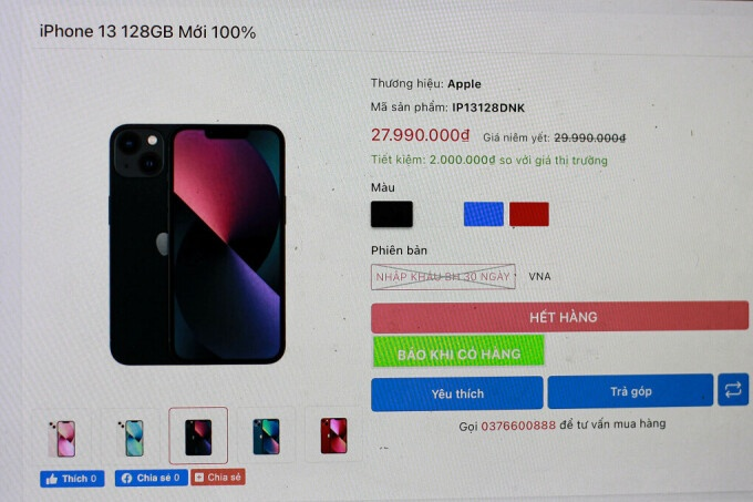 iphone 13 xach tay dan vang bong