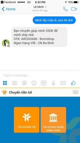 Chuyển tiền trên mạng xã hội với MyVIB Social keyboard