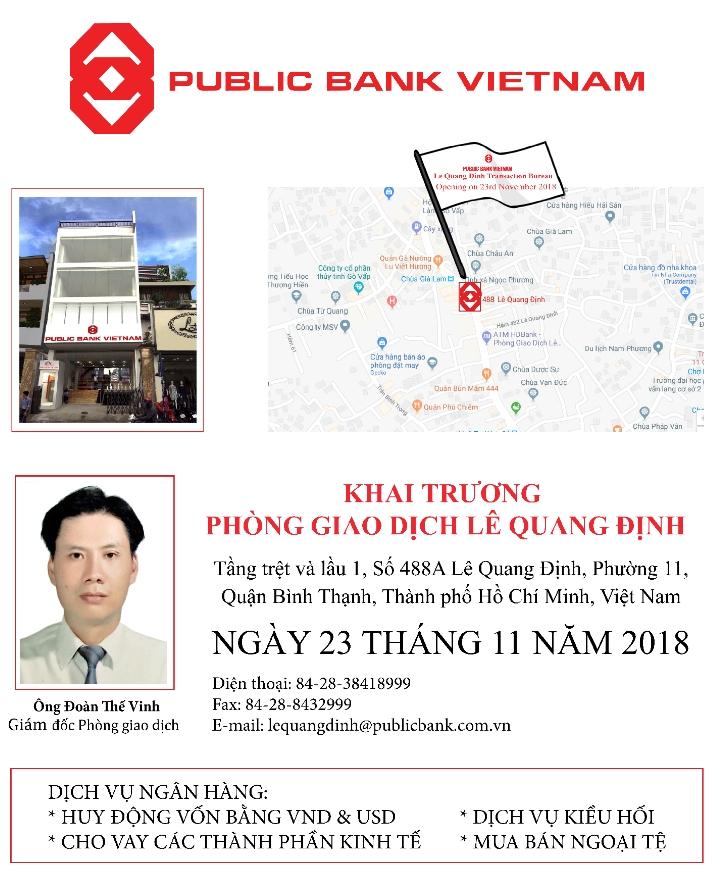 Ngân hàng TNHH MTV Public Việt Nam khai trương Phòng giao dịch Lê Quang Định