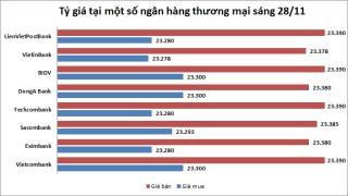 Tỷ giá ngày 28/11: Nhiều ngân hàng TMCP giữ nguyên giá USD