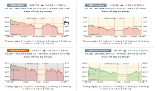 Áp lực bán tăng vọt cuối phiên, VN-Index mất gần 16 điểm