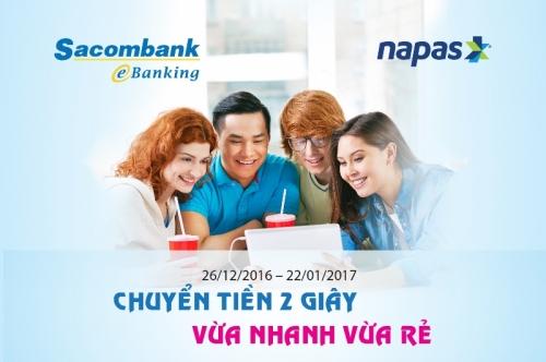 Sacombank ưu đãi KH chuyển khoản nhanh qua ngân hàng điện tử