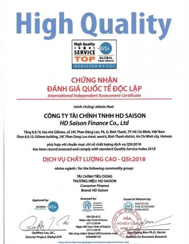 HD SAISON đạt chứng nhận CSI và QSI