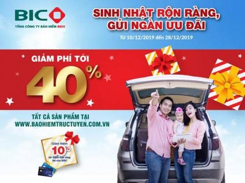 BIC giảm phí tới 40% cho khách hàng mua bảo hiểm trực tuyến