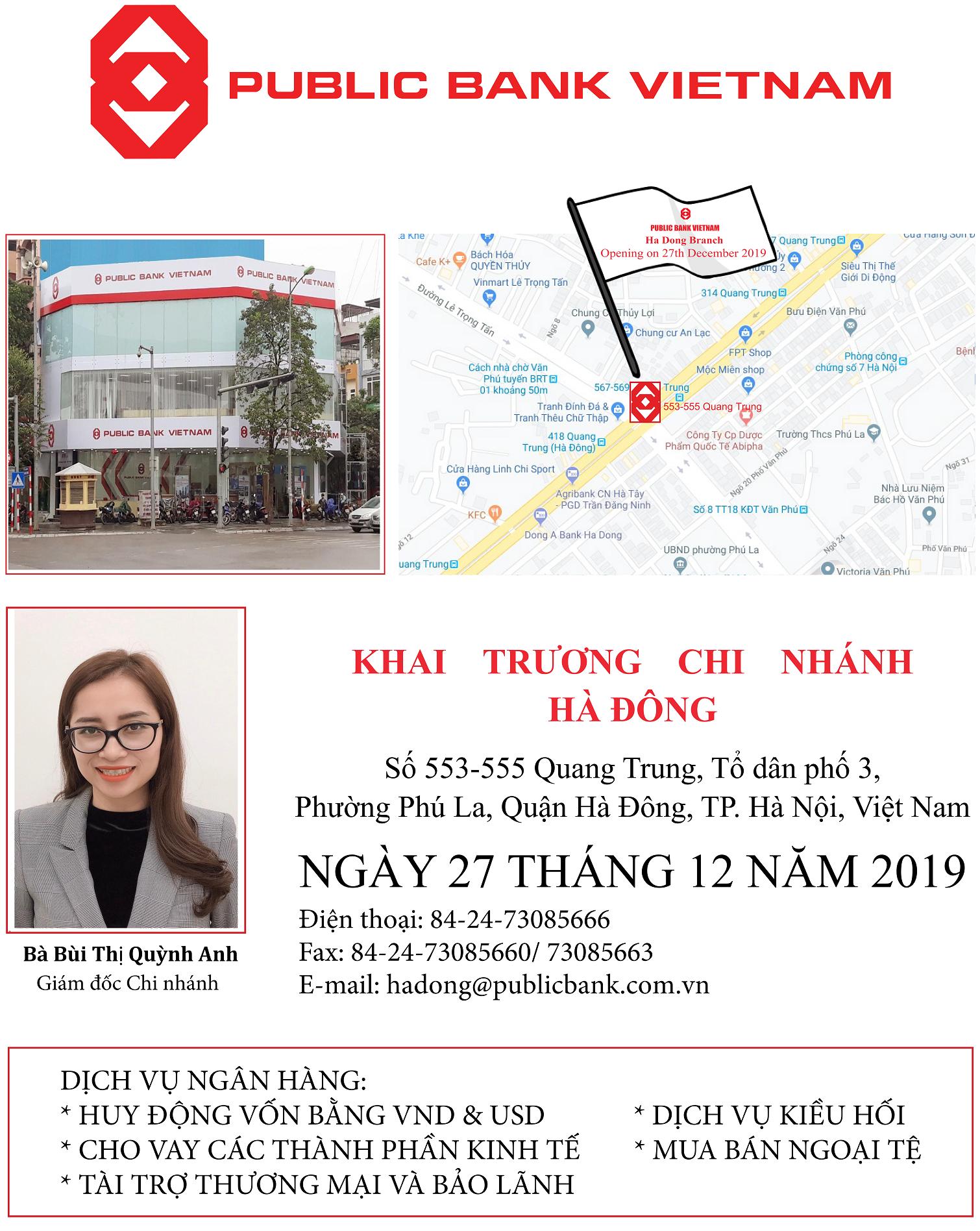 Ngân hàng TNHH MTV Public Việt Nam khai trương Chi nhánh Hà Đông