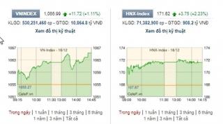 Cổ phiếu ngân hàng bứt phá, VN-Index bật tăng gần 12 điểm
