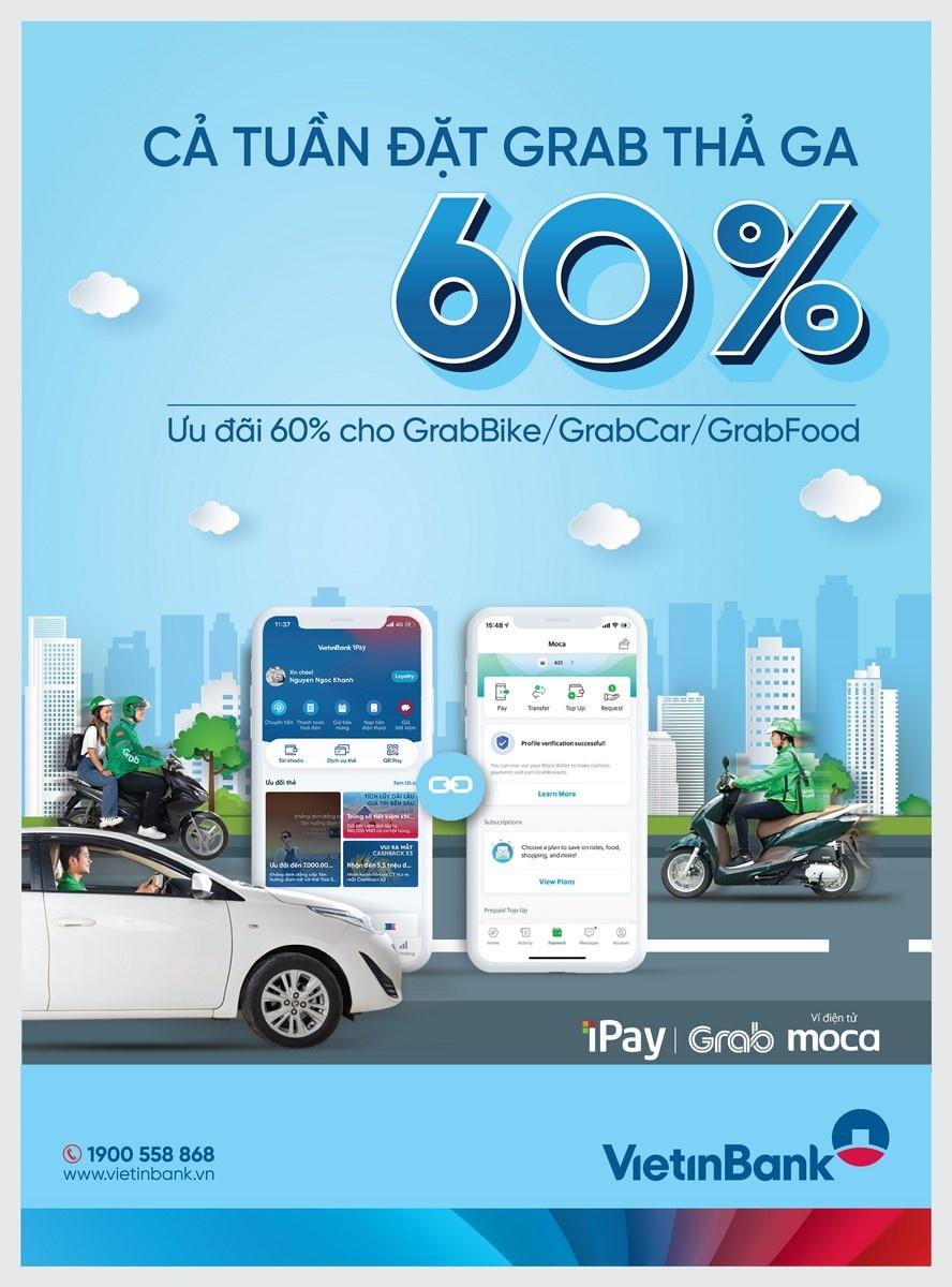 tang ma ipay grab len den 280000 dong cho khach hang su dung vietinbank ipay mobile