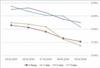 Thị trường TPCP ngày 9/1: Lãi suất thực hiện tăng duy nhất kỳ hạn 3-5 năm