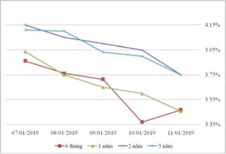 Thị trường TPCP ngày 11/1: Lãi suất thực hiện giảm ở hầu hết kỳ hạn ngắn