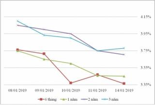 Thị trường TPCP ngày 14/1: Lãi suất thực hiện dao động mạnh