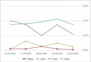 Thị trường TPCP ngày 22/1: Lãi suất thực hiện đa số kỳ hạn tăng