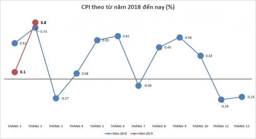 Tết Nguyên đán đẩy CPI tháng 2/2019 tăng đột biến