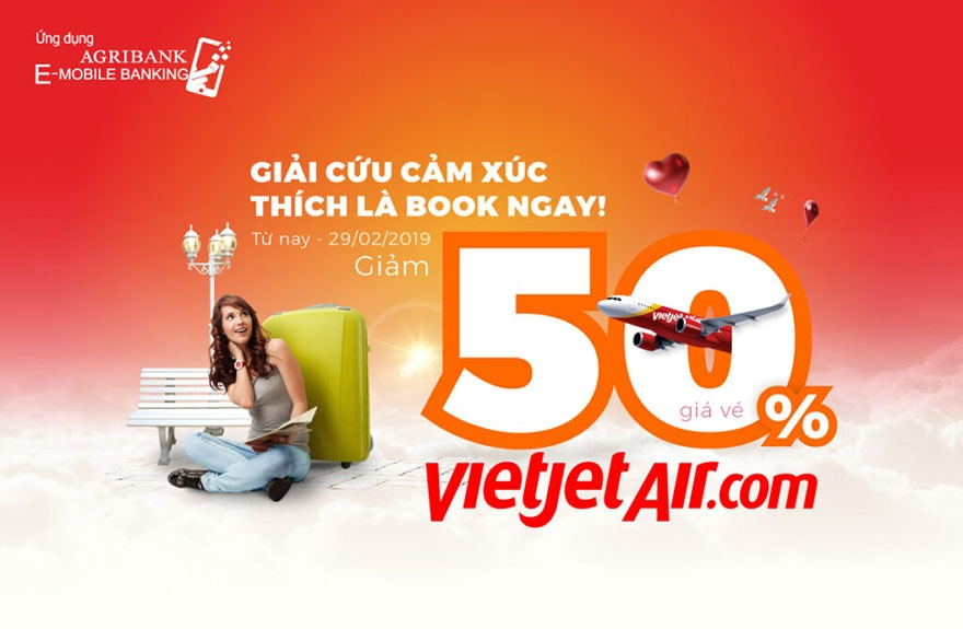 giam 50 gia ve vietjet air tren ung dung agribank e mobile banking