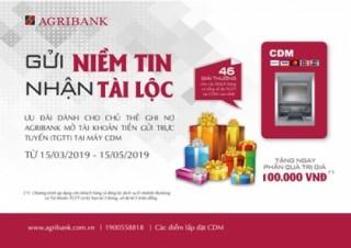 Nhận lộc khi gửi tiền tại CDM của Agribank