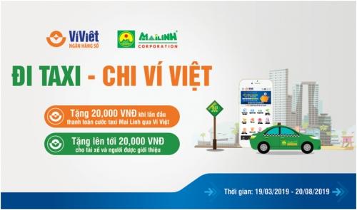 Ví Việt ưu đãi khách hàng thanh toán cước Taxi Mai Linh qua QR Code