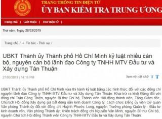 Kỷ luật nhiều cán bộ, nguyên cán bộ lãnh đạo Công ty Đầu tư và Xây dựng Tân Thuận