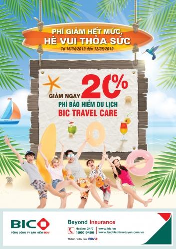 BIC ưu đãi 20% phí bảo hiểm du lịch Travel Care dịp hè 2019