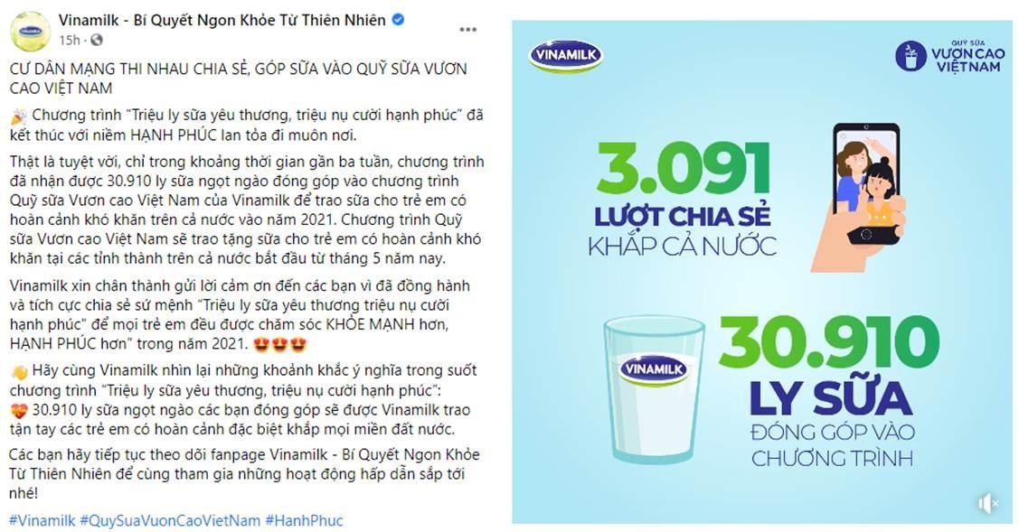 chien dich online trieu ly sua yeu thuong trieu nu cuoi hanh phuc cua vinamilk gop them 31000 ly sua cho tre em kho khan