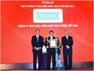 Chubb Life Việt Nam được vinh danh Top 10 doanh nghiệp bảo hiểm nhân thọ uy tín năm 2019