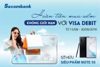 Thanh toán qua Sacombank Visa được hoàn tiền không giới hạn, có cơ hội nhận galaxy note 10