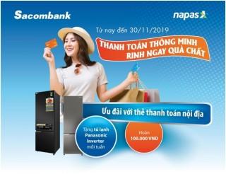 Chủ thẻ thanh toán nội địa Sacombank được hoàn tiền