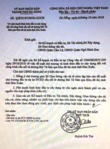 Đà Nẵng: Giả văn bản của Chủ tịch thành phố để gây sốt đất