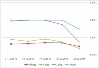 Thị trường TPCP ngày 21/12: Lãi suất thực hiện tăng ở kỳ hạn dài