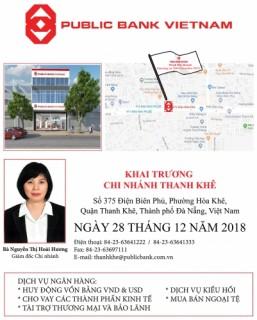 Ngân hàng TNHH MTV Public Việt Nam khai trương Chi nhánh Thanh Khê